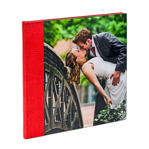 Acrylic Album Croc Red  The cover is made from high quality acrylic which is ground and polished.  Your chosen image is mounted behind the acrylic panel. The spine & back has a 'crocodile' effect material.