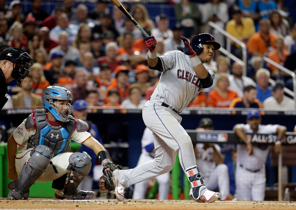 . American League\'s Cleveland Indians José Ramĺrez (11), singles during the third inning, at the MLB baseball All-Star Game, Tuesday, July 11, 2017, in Miami. (AP Photo/Lynne Sladky)