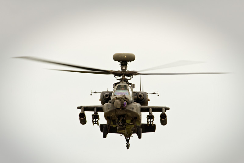 AH-64 Apache Longbow attack helicopter.  The cameras and chain gun on the nose are slaved to the gunners helmet.  The ultimate sighting system, you just look and shoot.  The system appears to be quite responsive in the demonstrations.