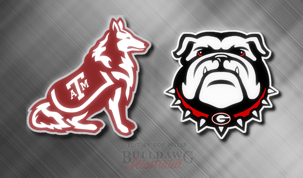 UGA vs. Aggies graphic edit with Metallic background and WONDERFUL by Bob Miller