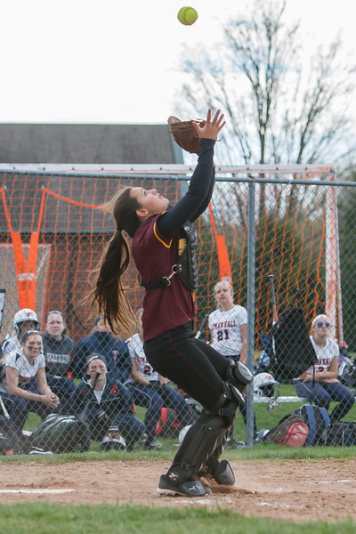Sheehan's Mikaeyla Daddio (7) catches a pop fly from Lyman Hall's Deanna Rackie (16) Monday at Lyman Hall High School in Wallingford  Apr. 27, 2015 | Justin Weekes / For the Record-Journal