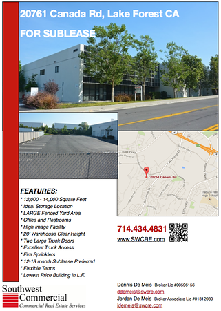 South Orange County Warehouse Storage Available 12,000 to 14,000 + square ft.