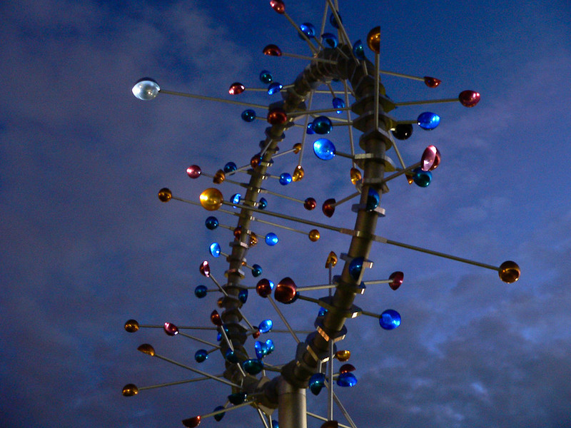 This kinetic art is about 15 feet across and is located in a small park at teh edge of the Docklands region.