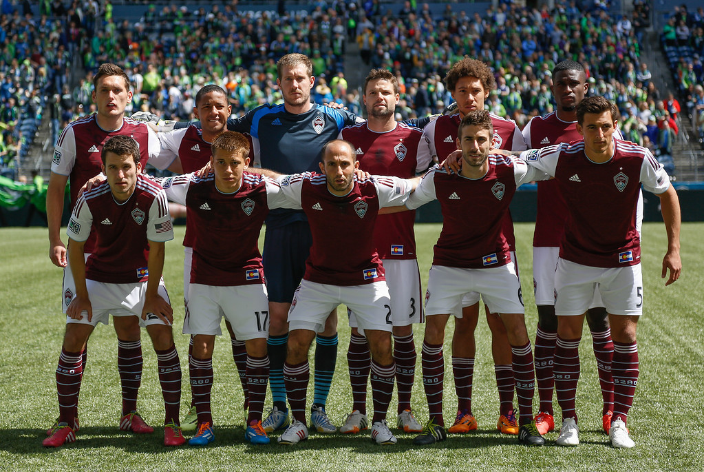 . Members of the Colorado Rapids pose for the team photo prior to the match against the Seattle Sounders FC at CenturyLink Field on April 26, 2014 in Seattle, Washington. (Photo by Otto Greule Jr/Getty Images)