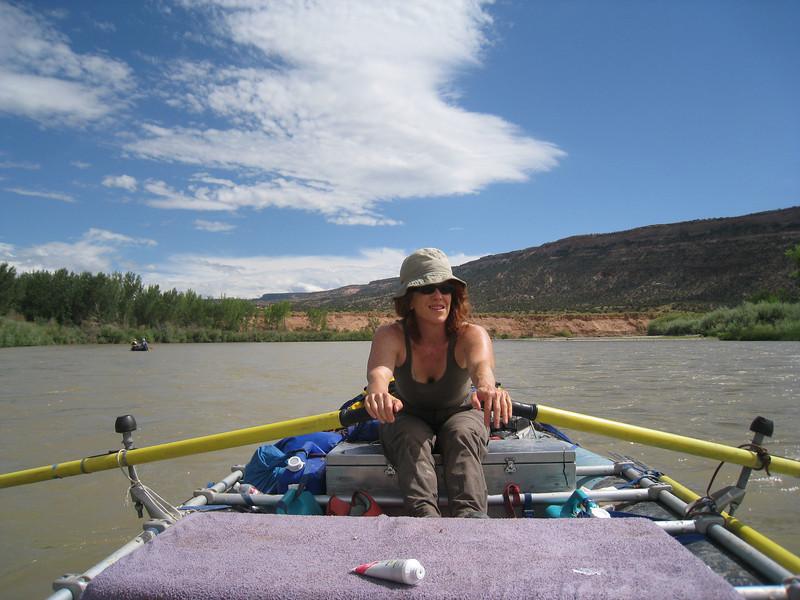 Gail handling the oars