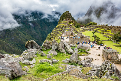 Wide angle view of Machu Picchu from rock quary toward una picchu