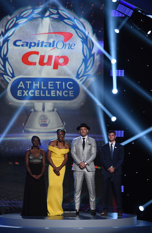 . Tennis player Melissa Lord, WNBA player Nneka Ogwumike, NFL football player Zach Ertz and soccer player Tomas Hilliard-Arce, from left, appear on stage for the Capital One Cup presentation at the ESPY Awards at Microsoft Theater on Wednesday, July 18, 2018, in Los Angeles. (Photo by Phil McCarten/Invision/AP)