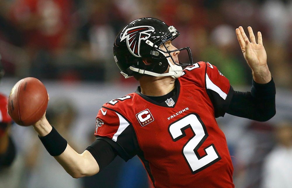 . Atlanta Falcons quarterback Matt Ryan throws a pass against the Seattle Seahawks during the first quarter in their NFL NFC Divisional playoff football game in Atlanta, Georgia January 13, 2013.  REUTERS/Chris Keane