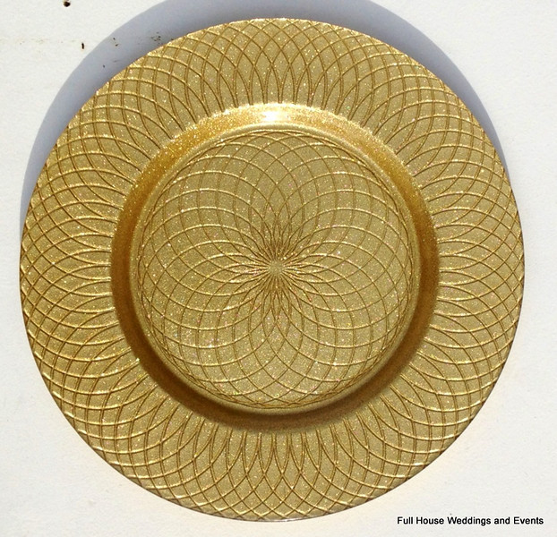 """13"""" Glitter Swirl Gold Glass Charger CALL FOR PRICING & AVAILABILITY"""