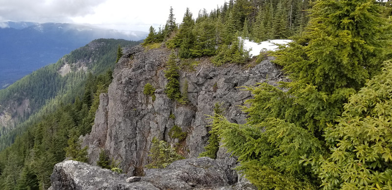 The rocky crag where the trail comes up to the overlook