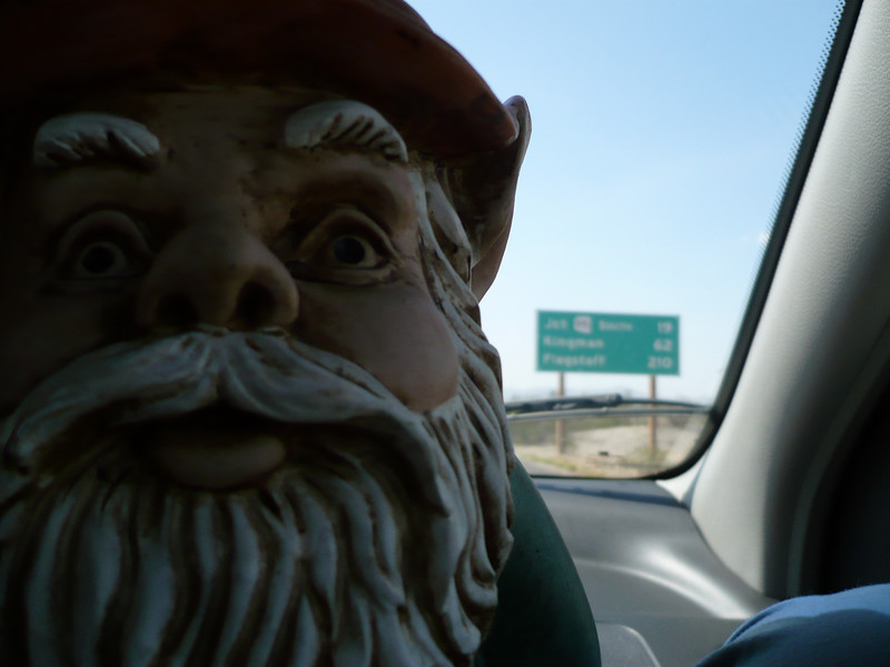 Day one of our cross country road trip. Harry the Gnome about 300 miles outside of Flagstaff.