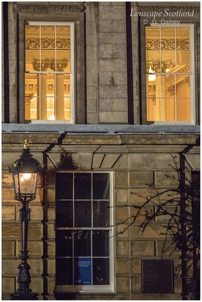 Lamp and illuminated windows, RBS St Andrew Square