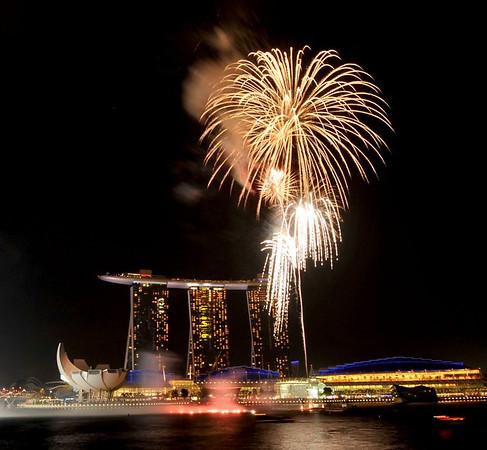 Fireworks at Marina Bay Sands, Singapore