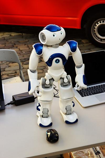 Robot NAO přírodovědců z Ostravské univerzity.  Video s robotem: https://www.youtube.com/watch?v=UaaNS3XYVug