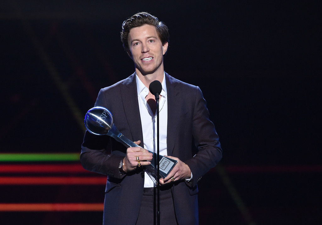 . Snowboarder Shaun White accepts the award for best Olympic moment, at the ESPY Awards at Microsoft Theater on Wednesday, July 18, 2018, in Los Angeles. (Photo by Phil McCarten/Invision/AP)