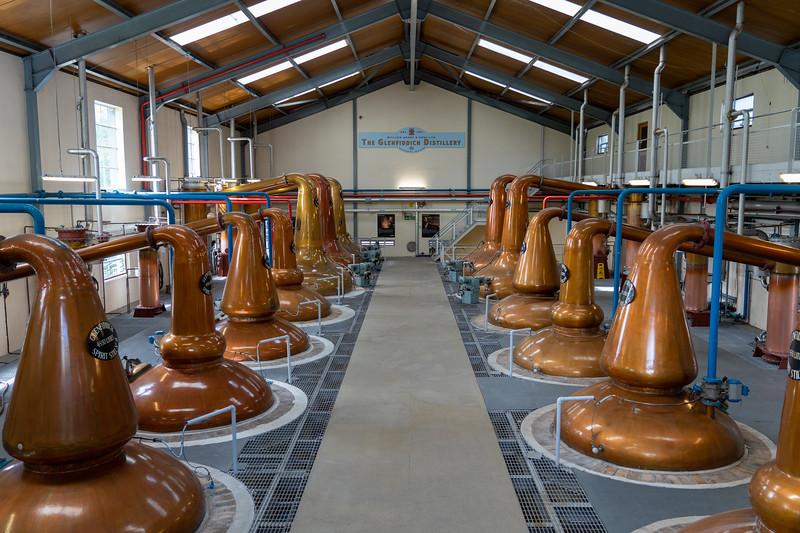 Copper stills at Glenfiddich Distillery