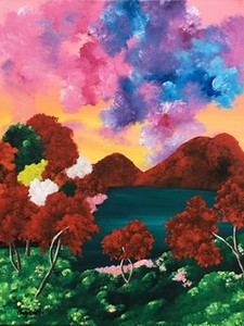 """""""Cotton's Candy: Full Bloom"""" (acrylic) by Brittany Fairchild"""