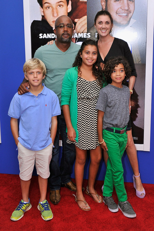 """. Darius Rucker, Beth Leonard, Henry Drew, Dani Rucker, and Jack Rucker attend the \""""Grown Ups 2\"""" New York Premiere at AMC Lincoln Square Theater on July 10, 2013 in New York City.  (Photo by Stephen Lovekin/Getty Images)"""