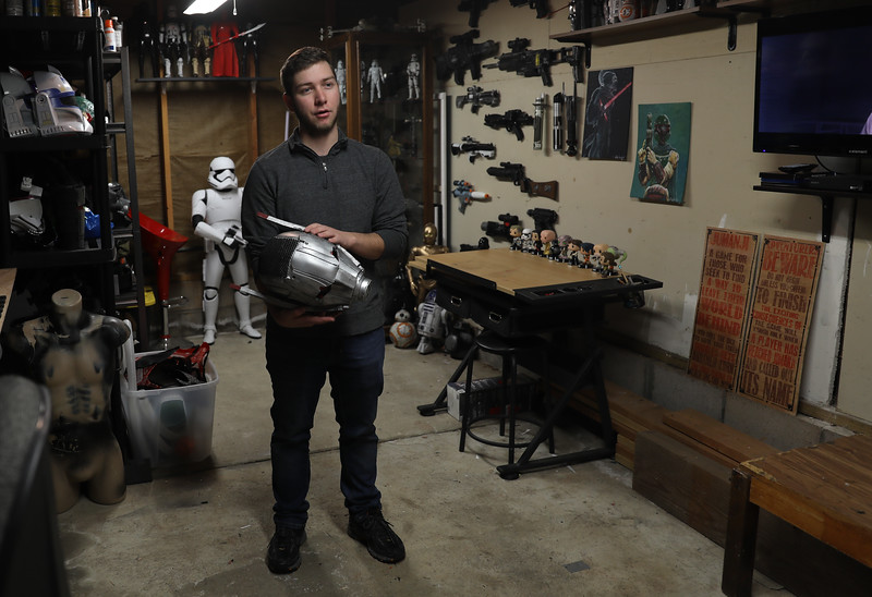 Ryan Meran stands in his studio where he creates life-like Star Wars and Marvel character costumes, April 6, 2018, in Chico, California. (Carin Dorghalli -- Enterprise-Record)