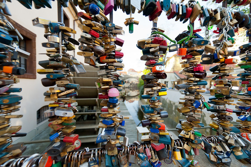The Love Locks in Charles Bridge, Prague - Czech Republic