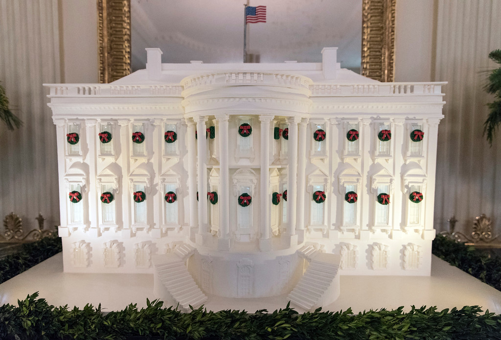 . The gingerbread White House is seen in the East Dining Room during a media preview of the 2017 holiday decorations at the White House in Washington, Monday, Nov. 27, 2017. (AP Photo/Carolyn Kaster)