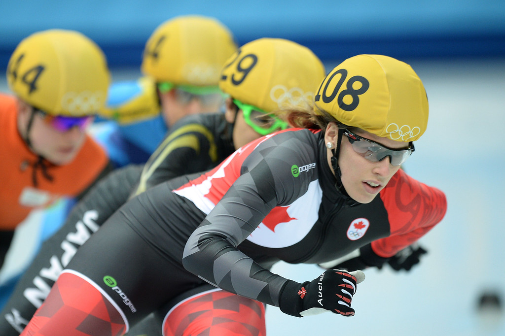 . Canada\'s Marianne St-Gelais competes in the Women\'s Short Track 500 m Heats at the Iceberg Skating Palace during the Sochi Winter Olympics on February 10, 2014.    JUNG YEON-JE/AFP/Getty Images