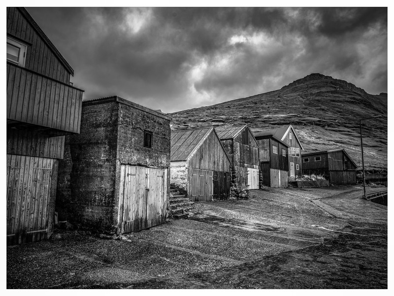 Faroe Boat Houses    Black and White Photography by Wayne Heim