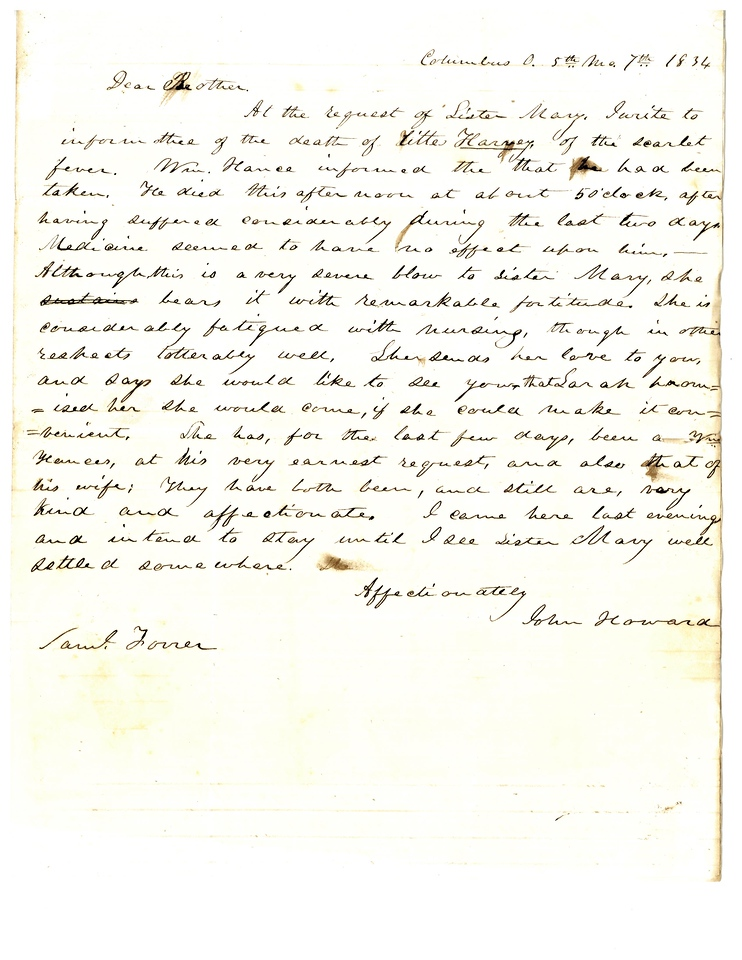 John Howard to Samuel Forrer, 1834 May 7, Box 36, File 8, MS-018, Forrer-Peirce-Wood Papers, Dayton Metro Library, Dayton, Ohio (reproduced with permission)