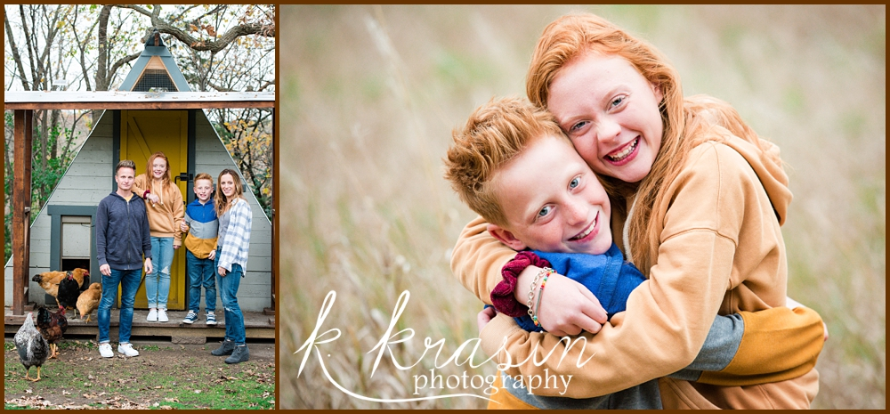 Collage of photos, one of family including mother, father, and two elementary children with chickens in a chicken coop and one of boy and girl hugging in field
