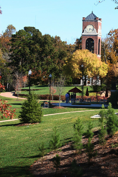 A view of the Hollifield Carillon (bell tower) on a beautiful Fall day at Gardner-Webb University.