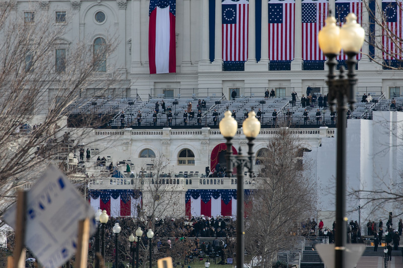 Inaugural atendees take their seats on the West Lawn of the U.S. Capitol shortly before the inauguration of Joe Biden