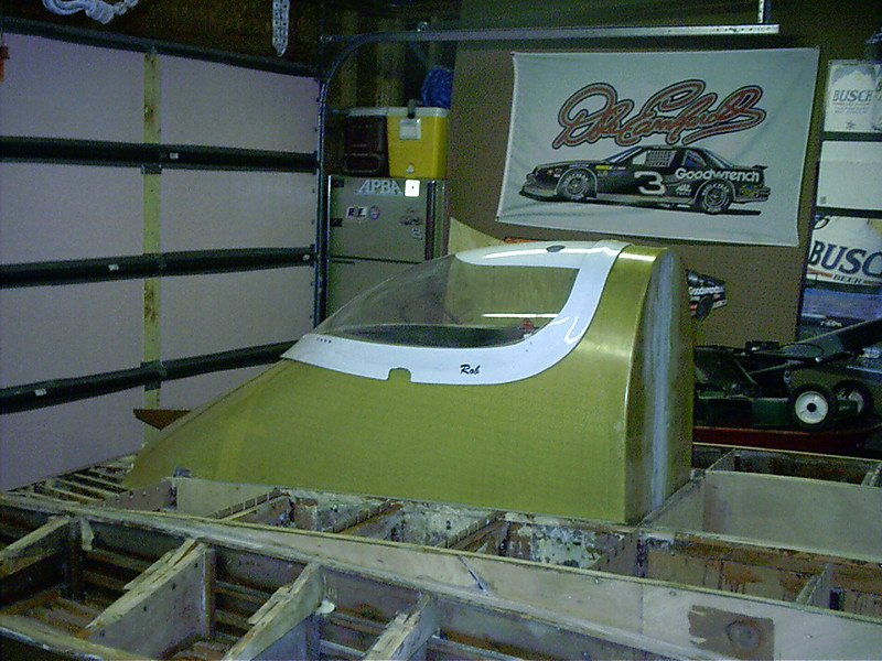 Rear port view of canopy being fit.
