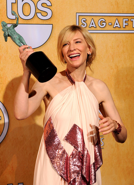 . Cate Blanchett backstage at the 20th Annual Screen Actors Guild Awards  at the Shrine Auditorium in Los Angeles, California on Saturday January 18, 2014 (Photo by John McCoy / Los Angeles Daily News)