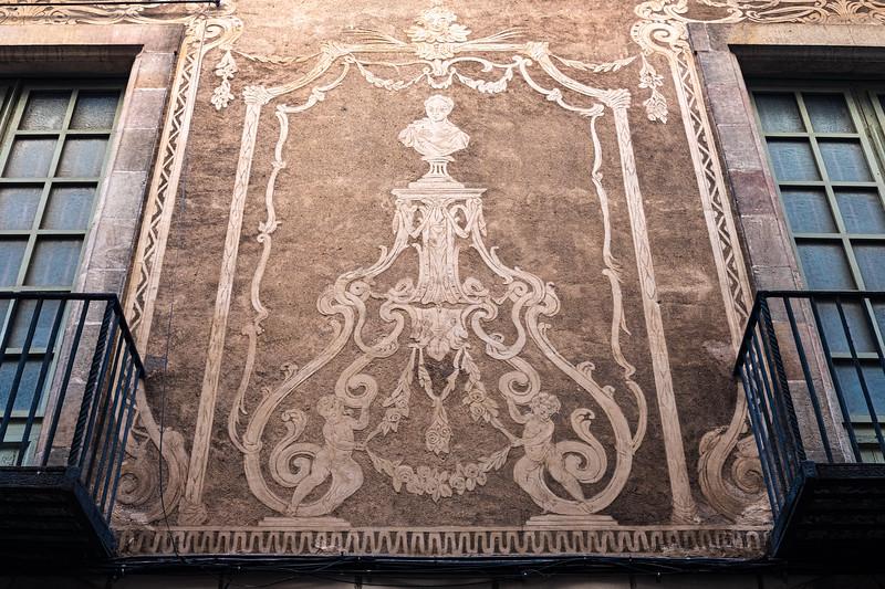 Roman style wall motifs in Barcelona