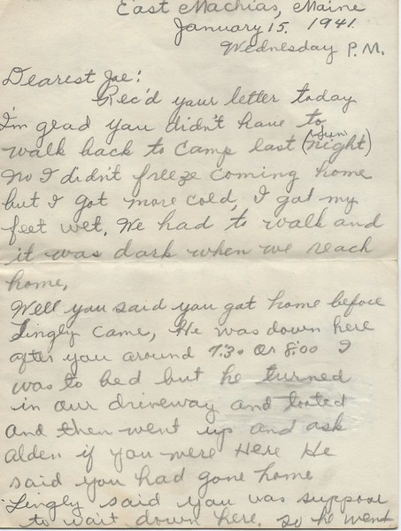 To Joseph Snowdeal from his future wife Doris Look January 15 1941