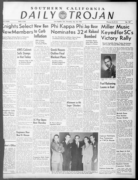 Daily Trojan, Vol. 33, No. 127, April 23, 1942