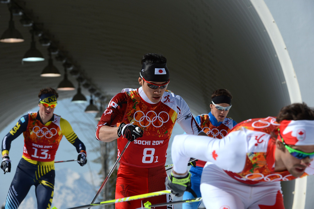 . Japan\'s Hiroyuki Miyazawa (C) competes in the Men\'s Cross-Country Skiing 4 x 10km Relay at the Laura Cross-Country Ski and Biathlon Center during the Sochi Winter Olympics on February 16, 2014 in Rosa Khutor near Sochi. KIRILL KUDRYAVTSEV/AFP/Getty Images