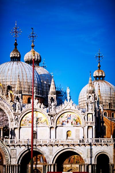 Detail of St Mark Basilica facade, Venice Italy