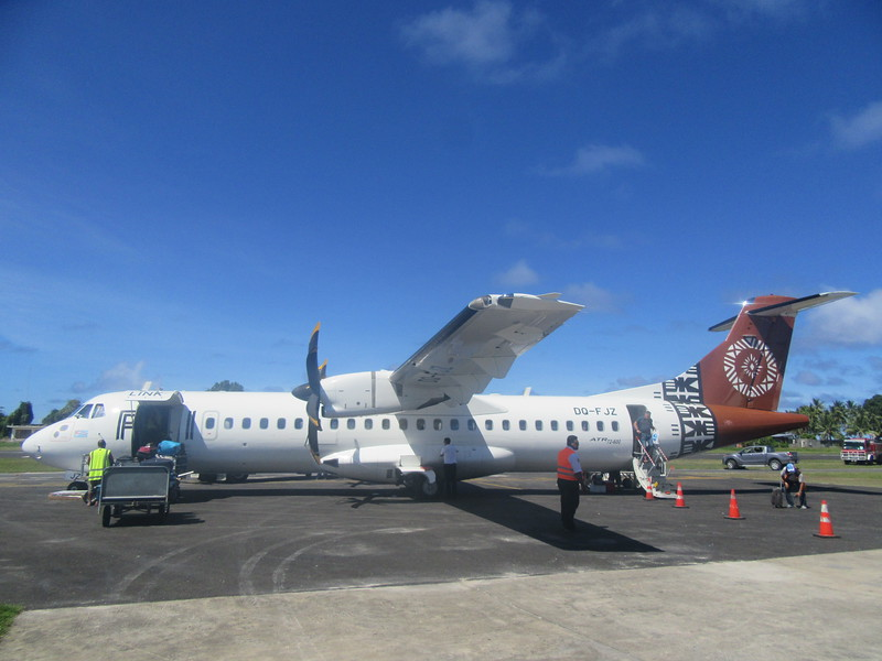 017_Funafuti. International Airport. Airstrip built in 2015 (paid by USA). Took a third of all available arable land. Only Fiji Airways, 2 flights a week. No private airlines. No shuttle between islands.JPG