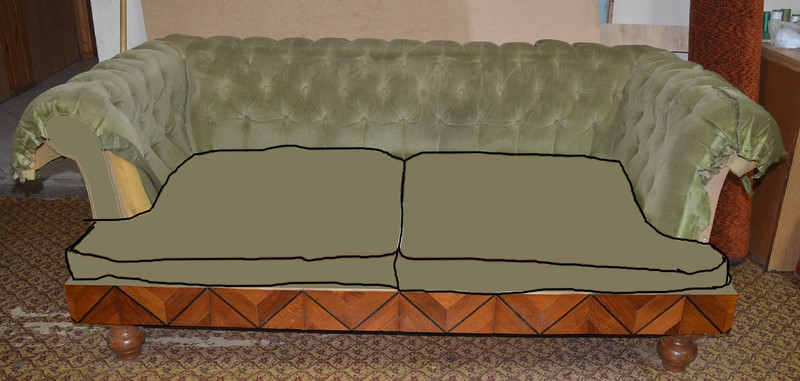 Anitque sofa, plaining stages