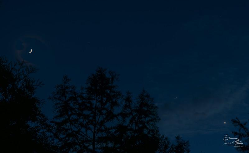 Solstice Moon, Jupiter and Venus