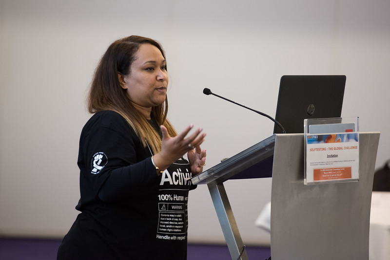 22nd International AIDS Conference (AIDS 2018) Amsterdam, Netherlands   Copyright: Marcus Rose/IAS  Photo shows: ILF Roundtable. Rapid Access to New Technology and Reaching the Unreached. Speaker: Solange Baptiste