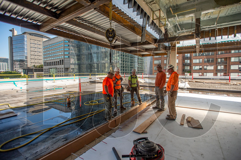 A former rooftop mechanical space is being renovated into an amenity space for Exchange Building tenants. (Josh Kulla/DJC)