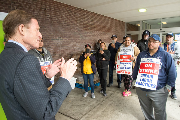 04/15/19 Wesley Bunnell | Staff Senator Richard Blumenthal visited area Stop & Shop Supermarkets on Monday afternoon speaking to striking workers on the importance of not just protecting their jobs but helping to uphold other jobs in the middle class. Jose Chacon, R, a produce manager with Stop & Shop, listens along with fellow strikers to Senator Blumenthal.