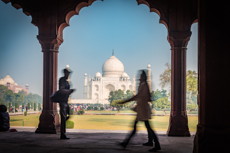 January 2019,People walk in the shade at The Taj Mahal,  UNESCO World Heritage Site, Agra, Uttar Pradesh, India, Asia.