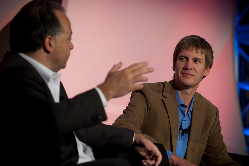 """""""Using Social Networks to Achieve Real Change"""": Rob Glaser (L), Founder, Chair, and CEO, RealNetworks; and host John Cook, Executive Editor, TechFlash"""