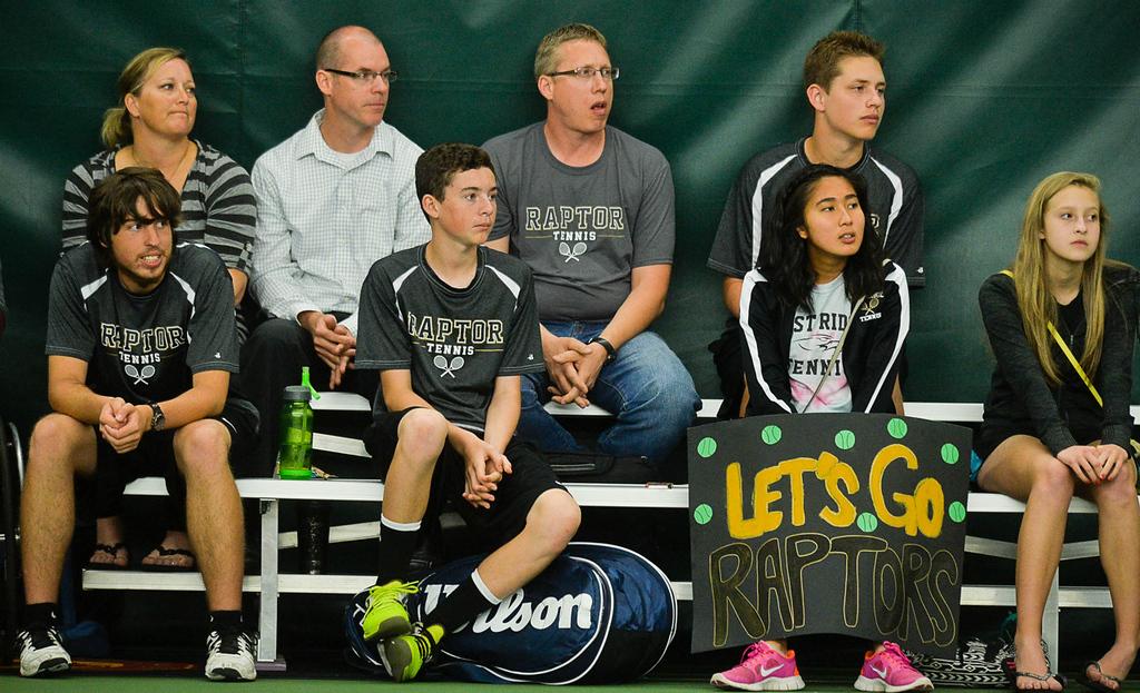 . East Ridge fans follow the ball  in the State Class AA Boys\' Tennis Tournament team quarterfinals. (Pioneer Press: Ben Garvin)