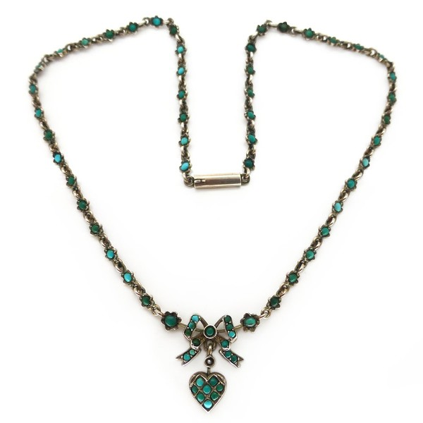 ANTIQUE EDWARDIAN SILVER TURQUOISE HEART & BOW PENDANT NECKLACE