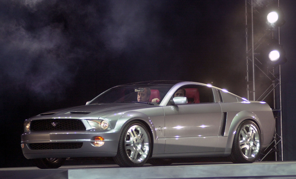 . A Ford Mustang GT Coupe concept car is shown during a press conference at the North America International Auto Show January 5, 2003 in Detroit, Michigan.  (Photo by Bryan Mitchell/Getty Images)