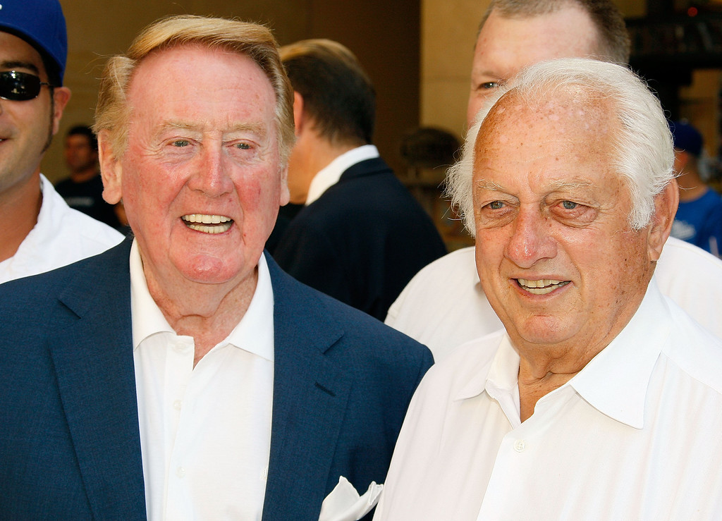 . Dodgers radio announcer Vin Scully and former manager Tommy Lasorda attend a special star ceremony honoring the Los Angeles Dodgers with an Award of Excellence on the Hollywood Walk of Fame on June 20, 2008 in Hollywood, California. (Photo by Vince Bucci/Getty Images)
